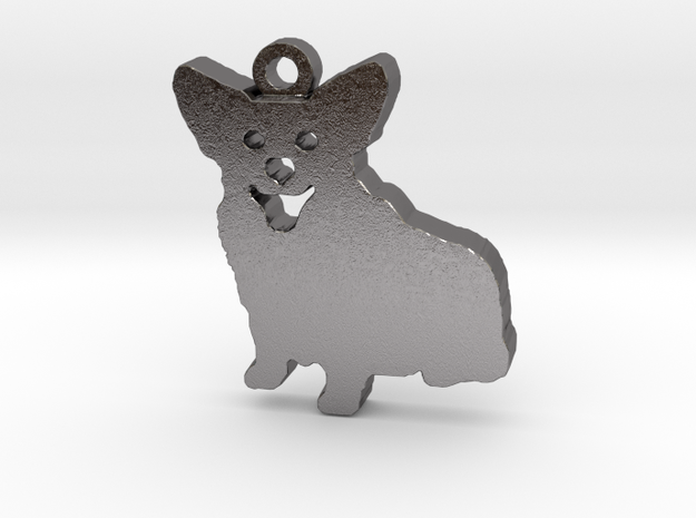 Smiling Corgi (with ring) in Polished Nickel Steel