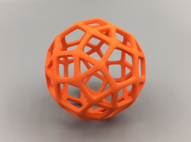 Rhombicosidodecahedron in Orange Strong & Flexible Polished