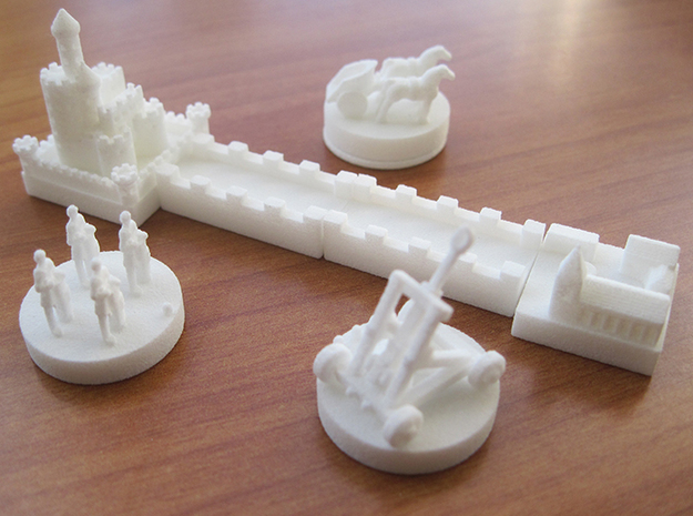 Base Catan White Piece Set 3d printed Base set of tokens and knights expansion