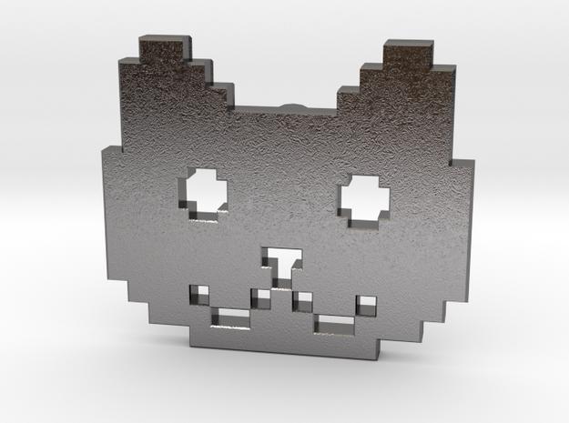 Retro Pixel Cat Pendant in Polished Nickel Steel
