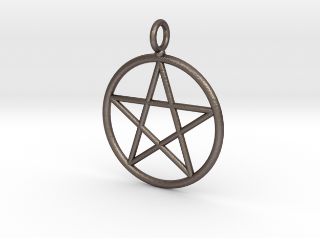 Simple pentagram necklace in Polished Bronzed Silver Steel