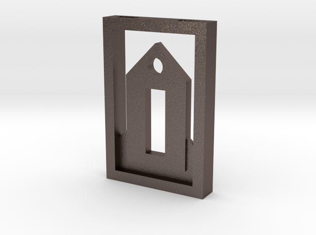 Tiny House Pendant Framed in Polished Bronzed Silver Steel