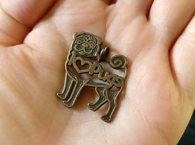 Pug Keychain in Stainless Steel