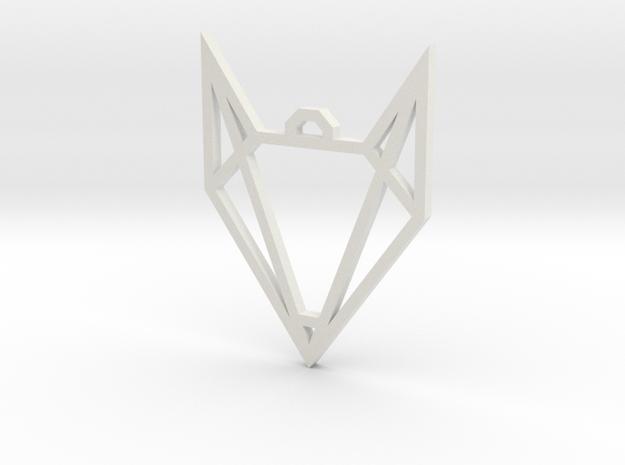 Geometric Fox Pendant in White Natural Versatile Plastic
