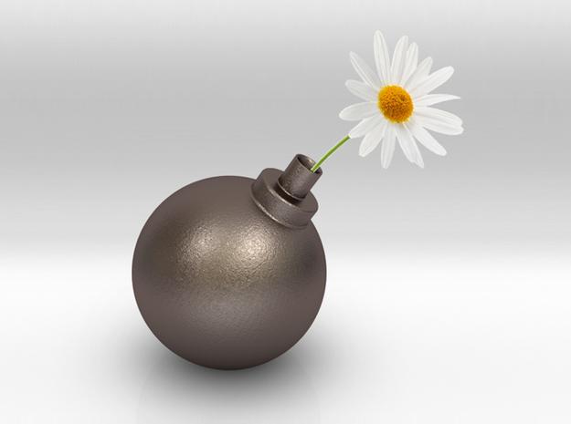 Bomb Vase in Polished Bronzed Silver Steel