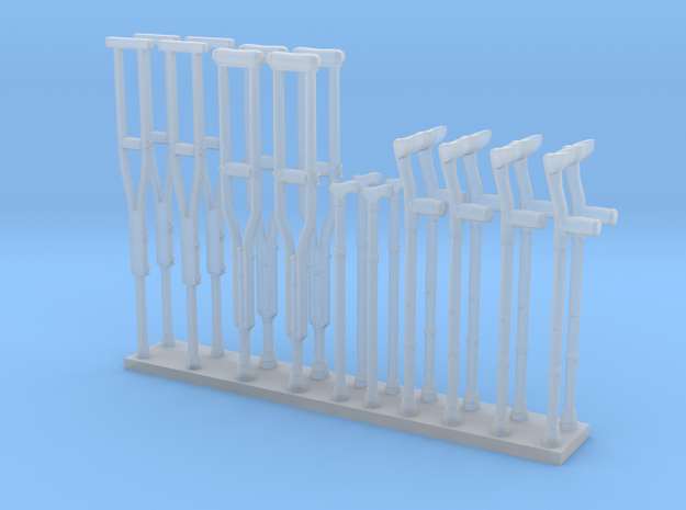 Crutches 01. O Scale (1:48) in Smooth Fine Detail Plastic