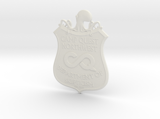 CQNW Badge in White Natural Versatile Plastic