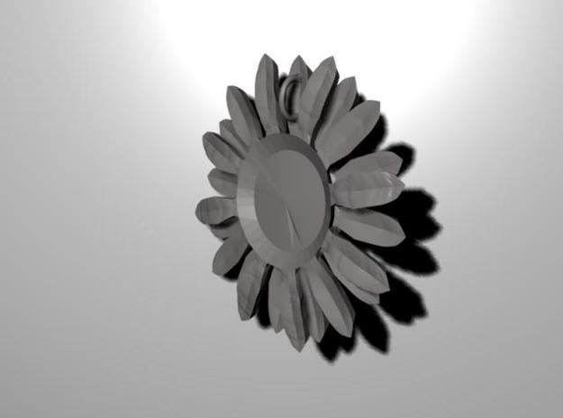 Sunflower Pendant 3d printed Rear view of the pendant, showing the chain loop-hole.