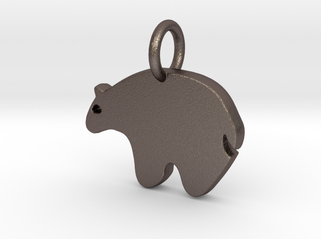 Bear Charm in Polished Bronzed Silver Steel
