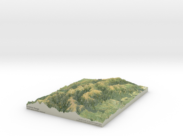 "Ruahine Range Map: 8.5""x11"" (100k) in Coated Full Color Sandstone"