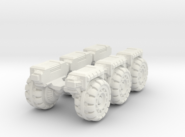 RUMV-Six Pack Of Wheels in White Strong & Flexible