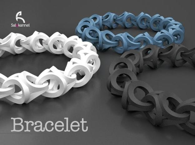 Crossover Thick - Bracelet size S 3d printed In Blue, White & Black