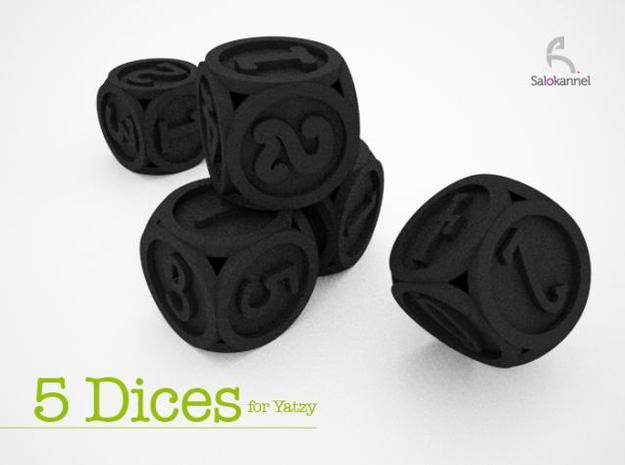Font Yatzy -game 3d printed 5 DICES for Yatzy