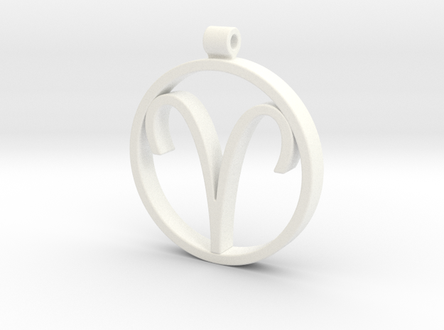 Aries Zodiac Sign Pendant in White Processed Versatile Plastic