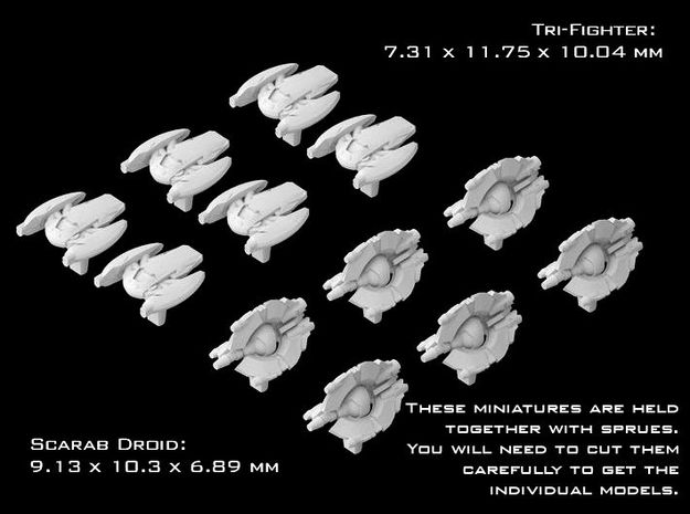 (Armada) 6x Scarab Droid + 6x Tri-Fighter in Smooth Fine Detail Plastic