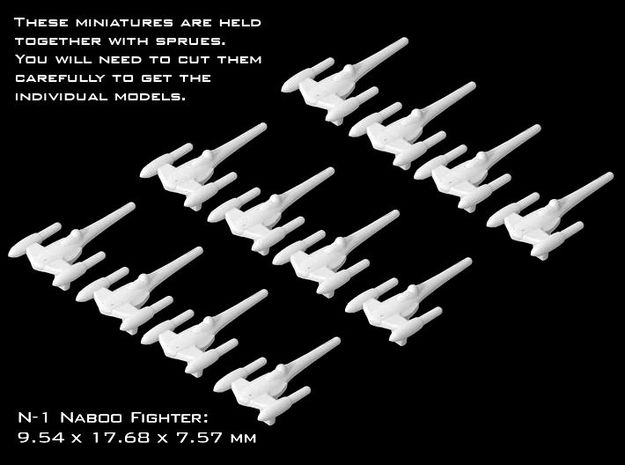 (Armada) 12x N-1 Naboo Starfighter in Smooth Fine Detail Plastic
