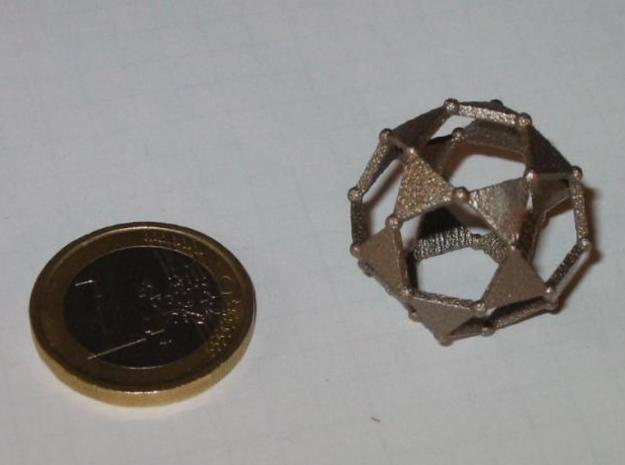 Icosidodecahedron 3d printed Stainess steel icosidodecahedron