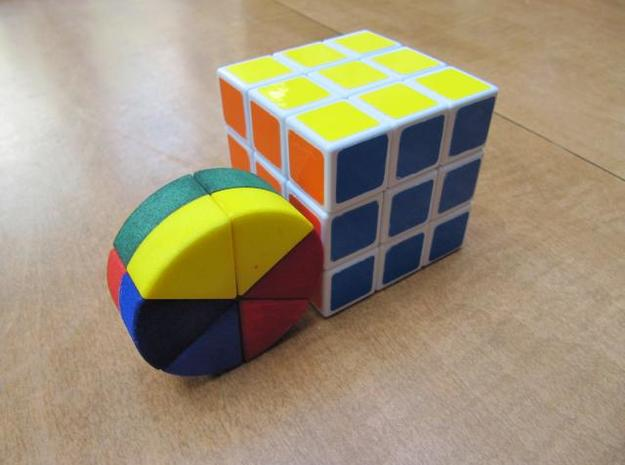 """Cheese"" Puzzle 3d printed Size Comparison to a Regular Rubik's Cube"