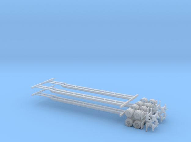 N 48' Container Chassis 4.Pack in Smooth Fine Detail Plastic