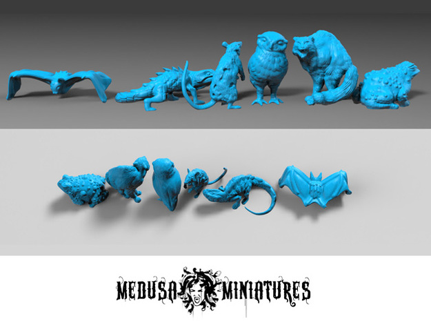 SIX ANIMAL FAMILIARS for 28mm, 32mm minis in Smooth Fine Detail Plastic