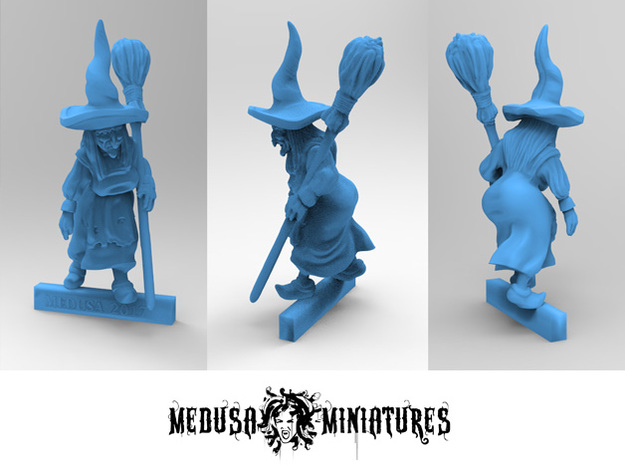 WITCH with BROOMSTICK 28mm miniature in Smooth Fine Detail Plastic