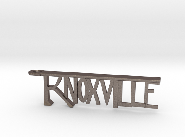 Knoxville Bottle Opener Keychain in Polished Bronzed Silver Steel