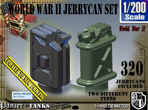 1/200 US & German Jerrycans Set01 in Frosted Extreme Detail