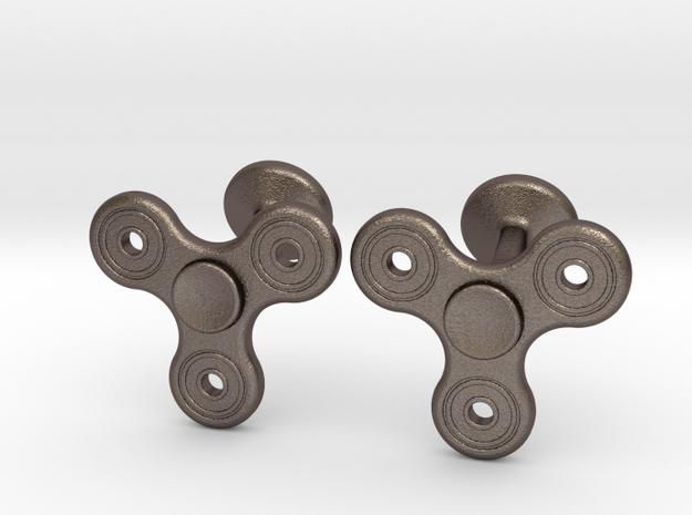 Fidget Spinner Cufflinks - LARGE in Stainless Steel