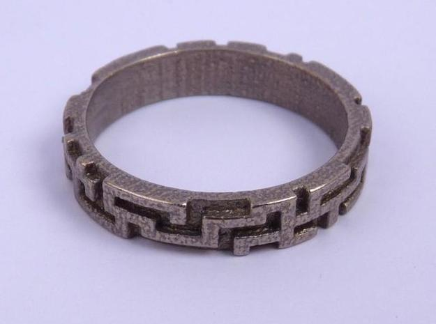 A maze ring 3d printed Stainless Steel