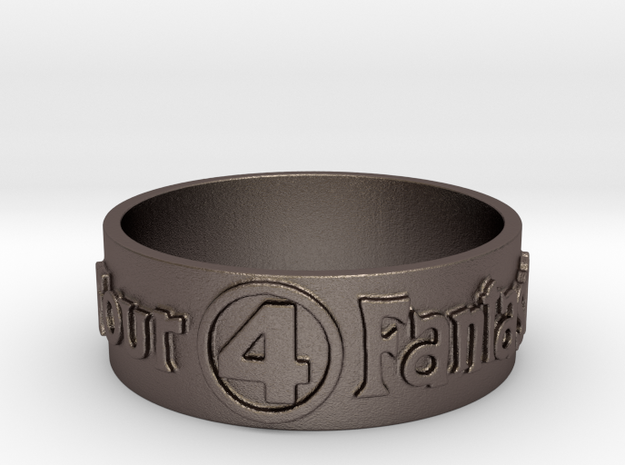 Fantastic Four Title Embossed Ring Size 12.25 in Polished Bronzed Silver Steel: 12.25 / 67.125