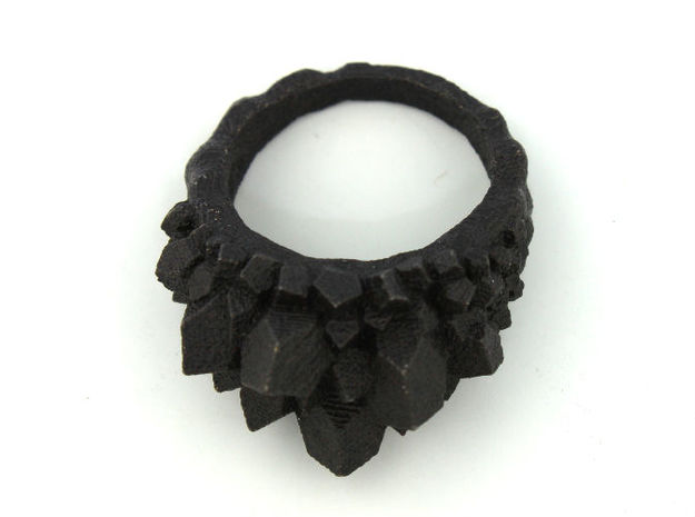 Crystal Ring size 12 3d printed matte black steel