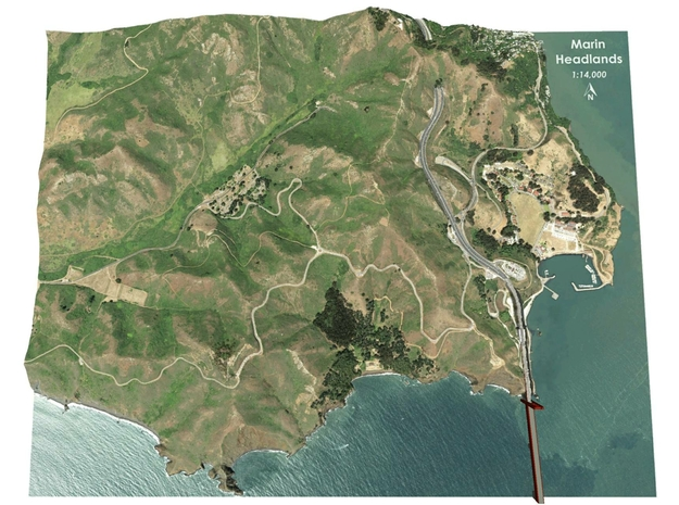 "Marin Headlands Map: 8.5""x11"" in Matte Full Color Sandstone"