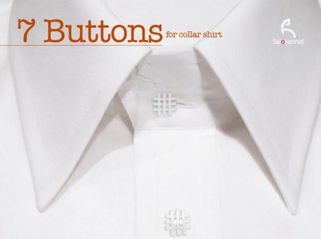 #-buttons for collar shirt - 7pcs. in White Strong & Flexible Polished