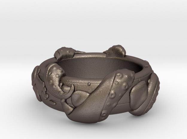 Kraken Ring in Polished Bronzed Silver Steel