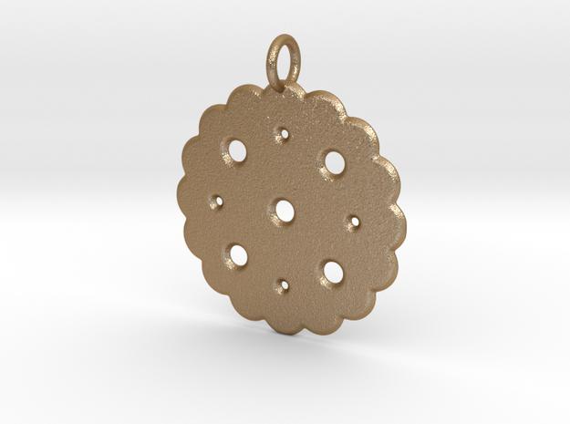 Cute Cookie Pendant Charm in Matte Gold Steel