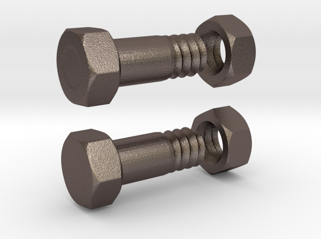 Tunnel - Bolt 4mm Pair with nut in Polished Bronzed Silver Steel