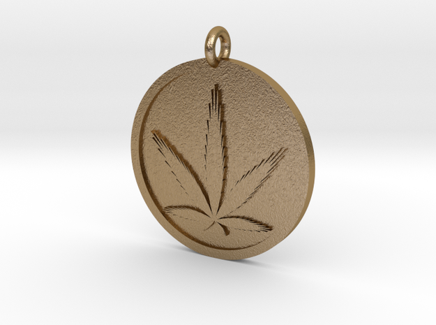 Cannabis Pendant in Polished Gold Steel