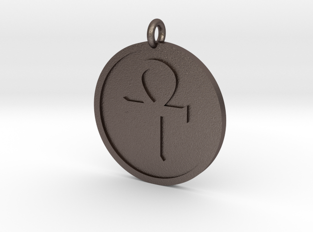 Ankh Pendant in Polished Bronzed Silver Steel