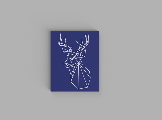 Stags Head Wall Art in White Natural Versatile Plastic