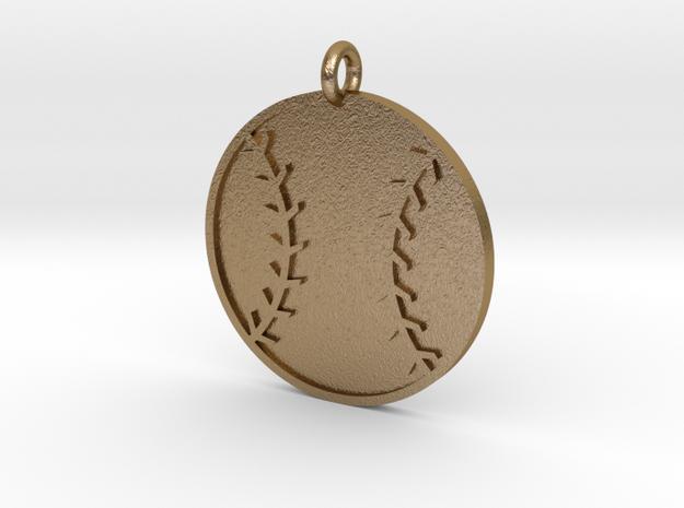 Baseball Pendant in Polished Gold Steel