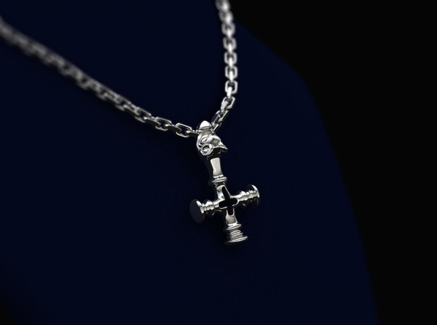 Thors Hammer Disguised as a Crucifix in Polished Bronzed Silver Steel