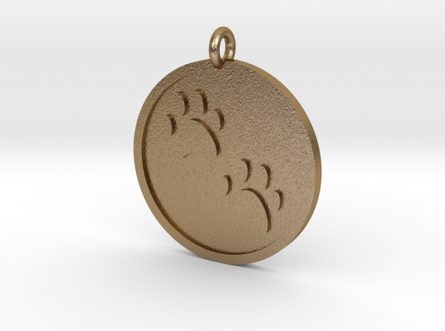 Paw Prints Pendant in Polished Gold Steel