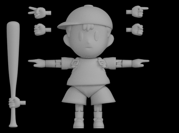 Ness Super Poseable Action Figure Kit Ver. 2 in White Strong & Flexible Polished