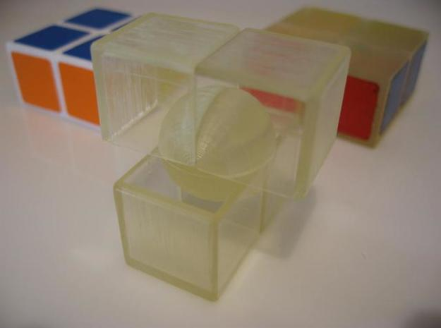 Minimis 2x2x1 (hollow) 3d printed Version 3 (20 Apr 2010) in clear PVC.  NOTE: Shapeways does not offer this material.