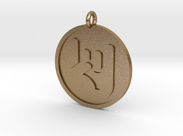 Rock On Pendant in Polished Gold Steel