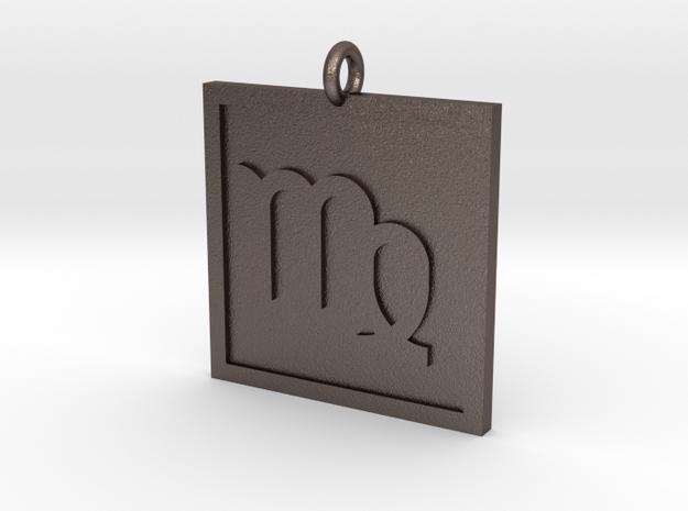 Virgo Pendant in Polished Bronzed Silver Steel