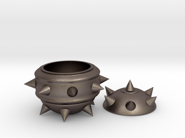 High-Poly Stickybomb Bowl in Polished Bronzed Silver Steel: Small