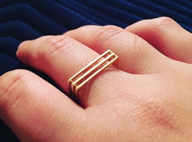 Square Ring  in 14k Gold Plated Brass: 6 / 51.5