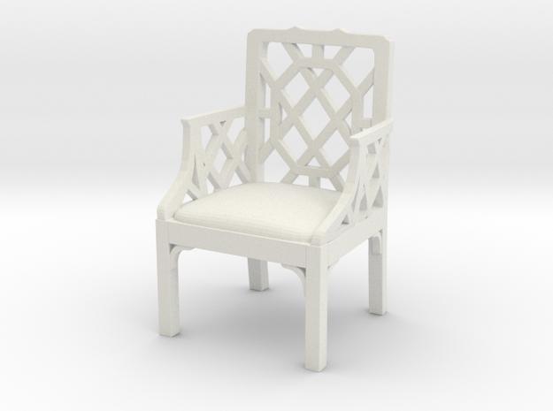 ArmChair 01. 1:12 Scale in White Natural Versatile Plastic