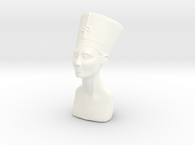 Miniature Bust of Nefertiti in White Processed Versatile Plastic
